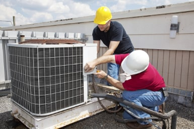 Servicing a rooftop air conditioner